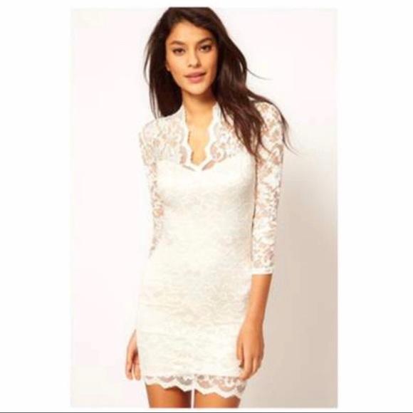 Asos White Vneck Lace Dress Nwt